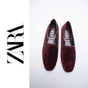 NWT ZARA Burgundy Low Heeled Velvet Shoes